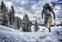 Just Keep Running: Potvin doesn't let a bit of snow halt her training, here she runs on snowshoe through the Olympic Valley. Photo courtesy Jenelle Potvin